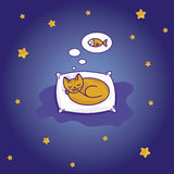 Cute cartoon cat sleeping on the pillow. Cute little cat sleeping on the pillow and dreming of fish (cartoon Royalty Free Stock Images