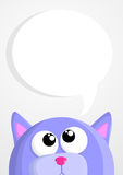 Cute cartoon cat with speech bubble Stock Images