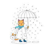 Cute cartoon cat, umbrella, rain and puddles. Stock Photos