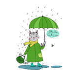 Cute cartoon cat, umbrella, rain and puddles. Hand drawing isolated objects on white background. Vector illustration. Hello, Autumn Stock Photo