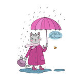 Cute cartoon cat, umbrella, rain and puddles. Royalty Free Stock Images