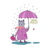 Cute cartoon cat, umbrella, rain and puddles. Hand drawing  objects on white background. Vector illustration. Hello, Autumn Stock Photos
