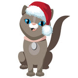 Cute cartoon cat wearing Santa hat Royalty Free Stock Photo