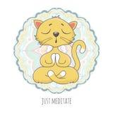 Cute cartoon cat in yoga position royalty free illustration