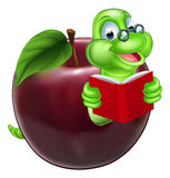 Cute Cartoon Caterpillar Worm. A happy cute cartoon caterpillar bookworm worm or caterpillar reading a book and coming out of an apple and wearing glasses Stock Photography