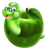 Cute Cartoon Caterpillar Worm. A happy cute cartoon caterpillar bookworm worm or caterpillar wearing glasses coming out of an apple Stock Images