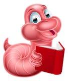 Cute Cartoon Caterpillar Worm. An illustration of a happy cute cartoon caterpillar worm mascot reading a book Stock Image