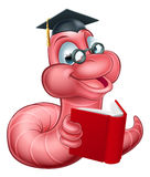 Cute Cartoon Caterpillar Worm. An illustration of a happy cute cartoon caterpillar worm mascot wearing glasses and graduation hat and reading a book Stock Images