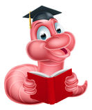 Cute Cartoon Caterpillar Worm. An illustration of a happy cute cartoon caterpillar worm mascot wearing a graduation hat and reading a book Royalty Free Stock Image