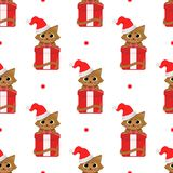 Cute cartoon cats with christmas gifts. Vector seamless pattern on white background. vector illustration