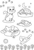 Cute cartoon cats: coloring vector page Royalty Free Stock Photo