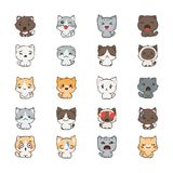 Cute cartoon cats and dogs with different emotions. Sticker collection. Vector set of doodle emoji and emoticons Stock Images