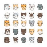 Cute cartoon cats and dogs with different emotions. Sticker collection. Vector set of doodle emoji and emoticons Stock Photos
