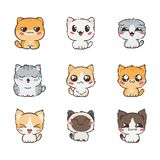 Cute cartoon cats and dogs with different emotions. Sticker collection. Vector set of doodle emoji and emoticons Royalty Free Stock Images