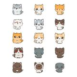 Cute cartoon cats and dogs with different emotions. Sticker collection. Vector set of doodle emoji and emoticons vector illustration