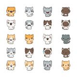 Cute cartoon cats and dogs with different emotions. Sticker collection. Vector set of doodle emoji and emoticons Royalty Free Stock Photography