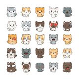 Cute cartoon cats and dogs with different emotions. Sticker collection. Vector set of doodle emoji and emoticons royalty free illustration