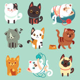 Cute cartoon cats, funny playful kittens vector set Royalty Free Stock Photography