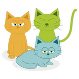 Cute Cartoon Cats Isolated On White Background Stock Photo
