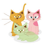 Cute Cartoon Cats Isolated On White Background Royalty Free Stock Image