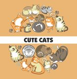 Cute cats vector poster of kittens pets playing or posing and funny looking. Cute cartoon cats and kittens playing, sleeping or posing and frisky behaving Royalty Free Stock Photography