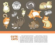 Cats and cute kittens pets playing or posing vector flat poster. Cute cartoon cats and kittens playing, sleeping or posing. Vector poster for world of cats Stock Photos