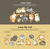 Cute cats and kittens pets playing or posing vector flat web banners. Cute cartoon cats and kittens playing, sleeping or posing web banner template. Vector flat Stock Photography