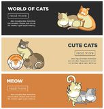 Cats world and kittens pets web banners playing or posing vector flat design. Cute cartoon cats and kittens playing, sleeping or posing web banner templates Royalty Free Stock Photo