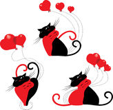 Cute cartoon cats with red hearts. Happy valentines day Stock Photo