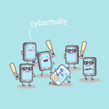 Cute cartoon cellphone bully Royalty Free Stock Images