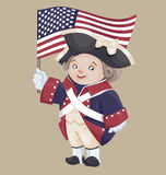 Cute cartoon character in Ameriacan IndependanceWar Patriot Cost. Smiley character in Ameriacan Independance War Patriot Costume hold USA flag in hand Stock Image