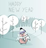 Cute cartoon character on and awesome holiday card vector illustration