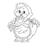 Cute cartoon character chicken. Grandmother with pancakes. Vector isolated on white background. Coloring book page. Pretty cartoon character chicken Royalty Free Stock Photos