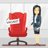 Cute cartoon character HR manager and empty boss chair. Employment, vacancy and hiring job vector concept vector illustration