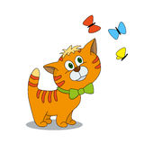 Cute cartoon character kitten with butterflies. Cute kitten with butterflies. Cartoon illustration of animal character. Brilliant card for children Royalty Free Stock Photography