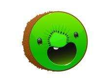 Cute cartoon character kiwi on white background Stock Images