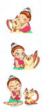 Cute cartoon character mascot illustration drawing art of traditional Thai girl  Royalty Free Stock Images