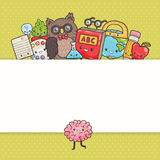 Cute cartoon characters. Back to school background Royalty Free Stock Image