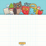 Cute cartoon characters. Back to school background Stock Photo