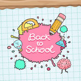 Cute cartoon characters. Back to school background Royalty Free Stock Photography