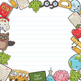 Cute cartoon characters. Back to school background. Cute hand drawn cartoon characters. Back to school background Royalty Free Stock Photography