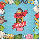 Cute cartoon characters. Back to school background Royalty Free Stock Images