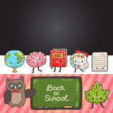 Cute cartoon characters. Back to school background Stock Images