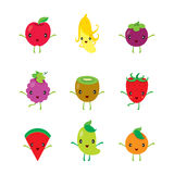 Cute Cartoon Characters Design Set Of Fruits Stock Photography