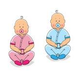 Cute cartoon characters of newborn babies Royalty Free Stock Photos