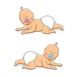 Cute cartoon characters of newborn babies. For your decoration Stock Photography
