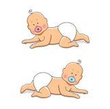 Cute cartoon characters of newborn babies Stock Photography