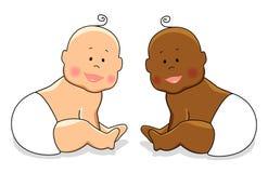 Cute cartoon characters of newborn babies Stock Photo