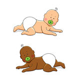 Cute cartoon characters of newborn babies. For your decoration Stock Image