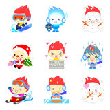 Cute cartoon characters set Stock Images
